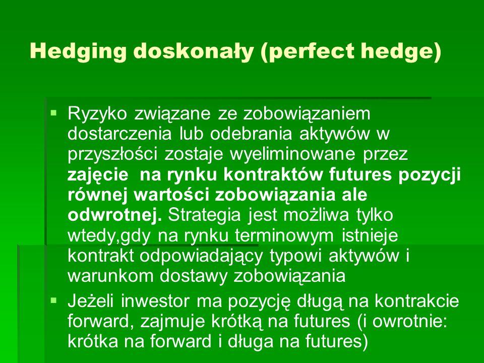 Hedging doskonały (perfect hedge) Ryzyko związane ze zobowiązaniem dostarczenia lub odebrania aktywów w przyszłości zostaje wyeliminowane przez zajęci