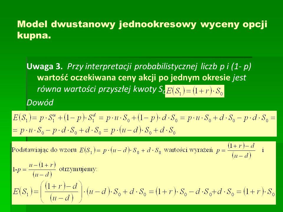 Model dwustanowy jednookresowy wyceny opcji kupna. Uwaga 3. Przy interpretacji probabilistycznej liczb p i (1- p) wartość oczekiwana ceny akcji po jed