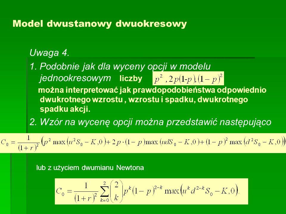 Model dwustanowy dwuokresowy Uwaga 4. 1. Podobnie jak dla wyceny opcji w modelu jednookresowym liczby można interpretować jak prawdopodobieństwa odpow