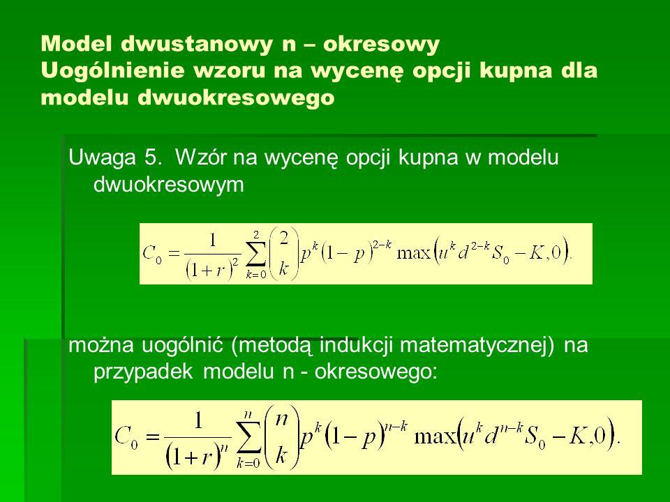 Model dwustanowy n – okresowy Uogólnienie wzoru na wycenę opcji kupna dla modelu dwuokresowego Uwaga 5. Wzór na wycenę opcji kupna w modelu dwuokresow