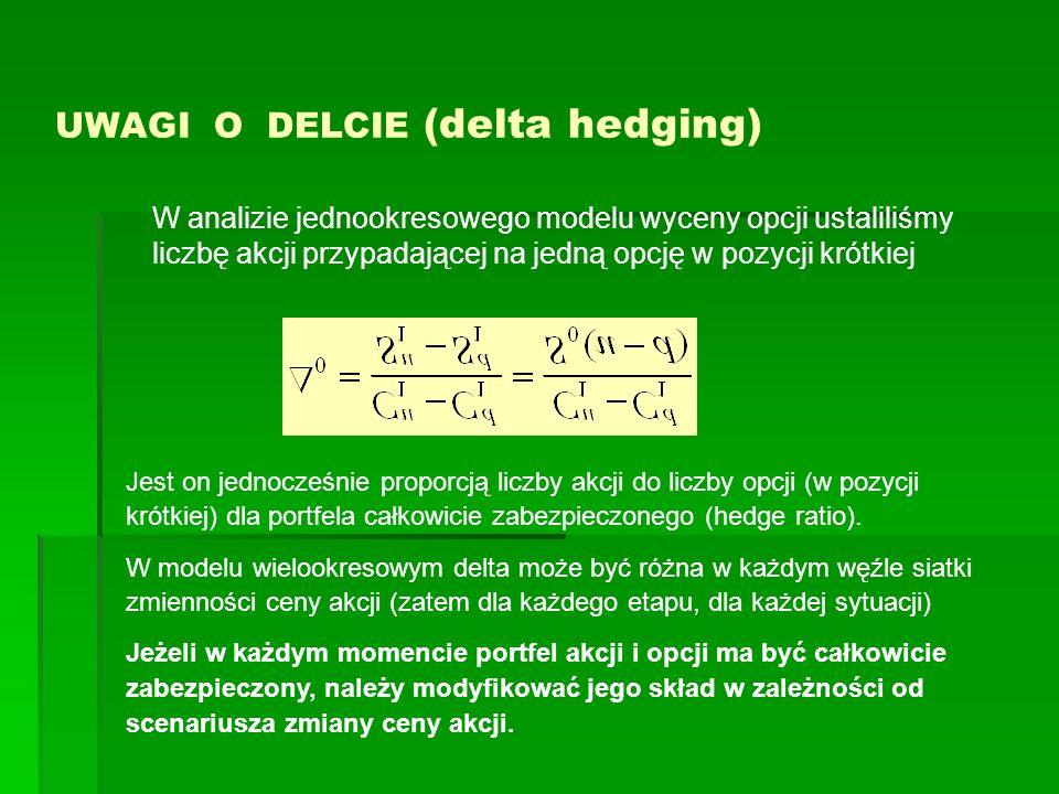 UWAGI O DELCIE (delta hedging) Jest on jednocześnie proporcją liczby akcji do liczby opcji (w pozycji krótkiej) dla portfela całkowicie zabezpieczoneg