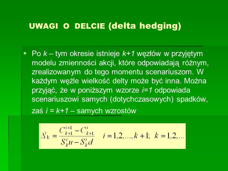 UWAGI O DELCIE (delta hedging) Po k – tym okresie istnieje k+1 węzłów w przyjętym modelu zmienności akcji, które odpowiadają różnym, zrealizowanym do