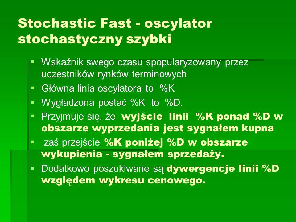 Stochastic Fast - oscylator stochastyczny szybki Wskaźnik swego czasu spopularyzowany przez uczestników rynków terminowych Główna linia oscylatora to