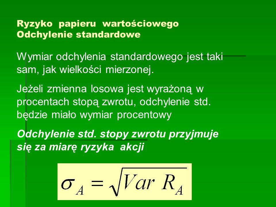 Ryzyko papieru wartościowego Odchylenie standardowe Wymiar odchylenia standardowego jest taki sam, jak wielkości mierzonej. Jeżeli zmienna losowa jest