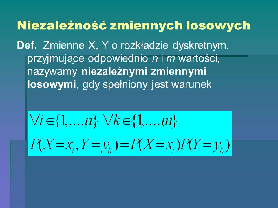 Niezależność zmiennych losowych Def. Zmienne X, Y o rozkładzie dyskretnym, przyjmujące odpowiednio n i m wartości, nazywamy niezależnymi zmiennymi los