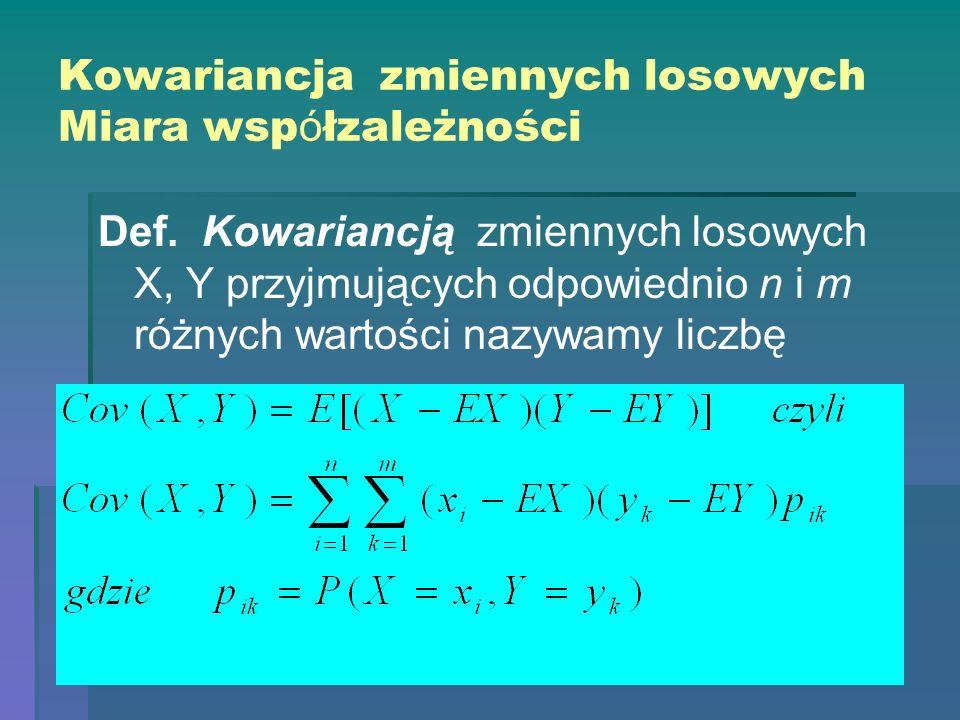 Kowariancja zmiennych losowych Miara wsp ó łzależności Def. Kowariancją zmiennych losowych X, Y przyjmujących odpowiednio n i m różnych wartości nazyw