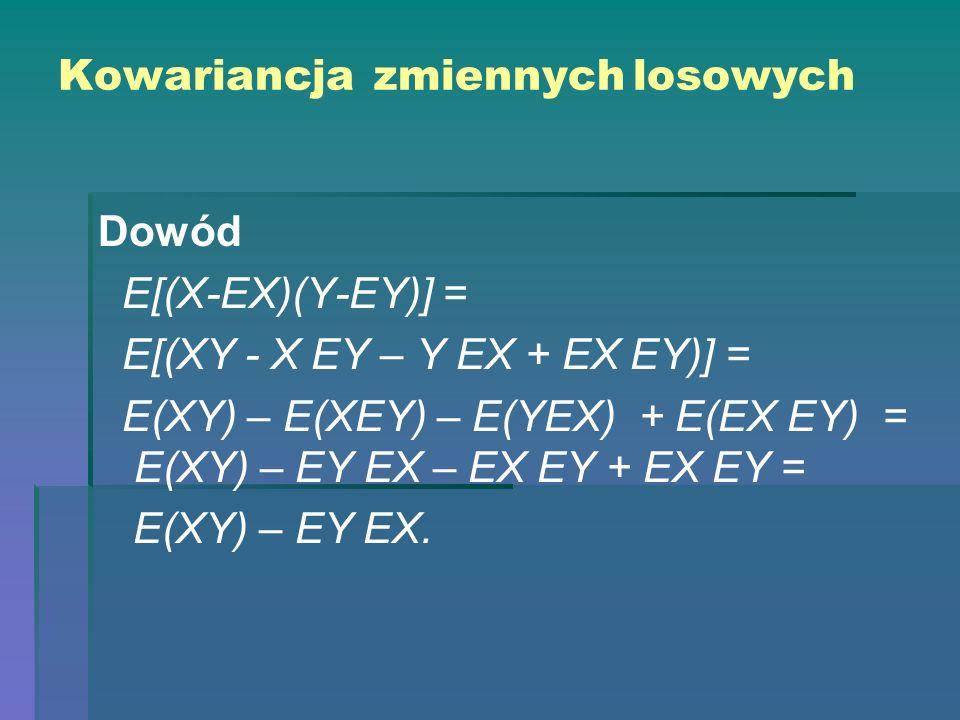 Kowariancja zmiennych losowych Dowód E[(X-EX)(Y-EY)] = E[(XY - X EY – Y EX + EX EY)] = E(XY) – E(XEY) – E(YEX) + E(EX EY) = E(XY) – EY EX – EX EY + EX