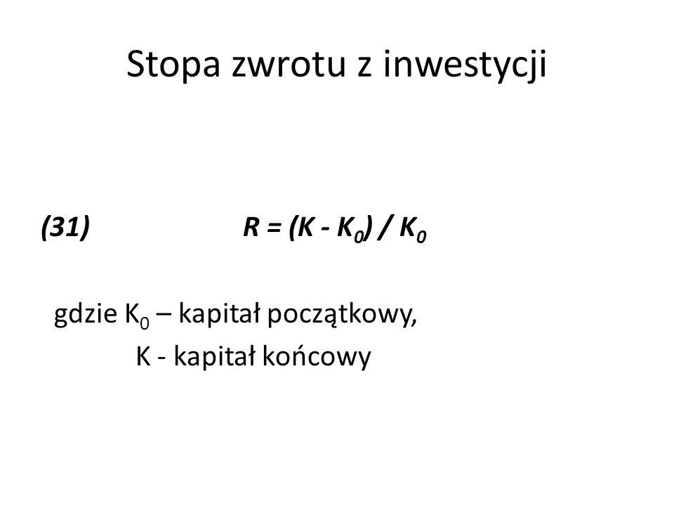 Stopa zwrotu z inwestycji (31)R = (K - K 0 ) / K 0 gdzie K 0 – kapitał początkowy, K - kapitał końcowy