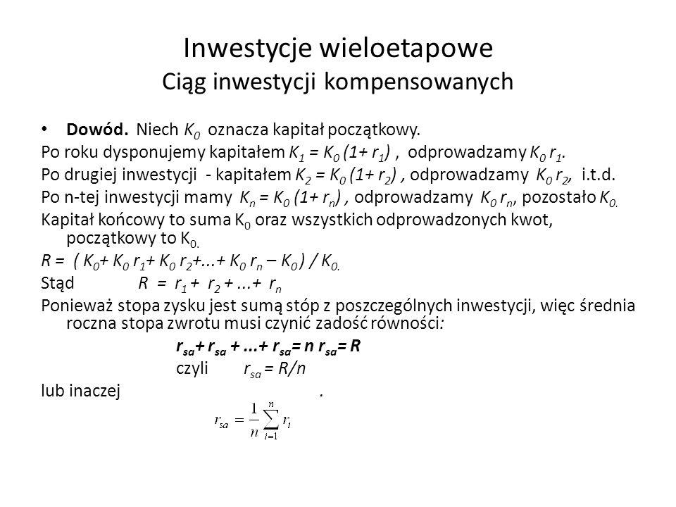 Inwestycje wieloetapowe Ciąg inwestycji kompensowanych Dowód. Niech K 0 oznacza kapitał początkowy. Po roku dysponujemy kapitałem K 1 = K 0 (1+ r 1 ),