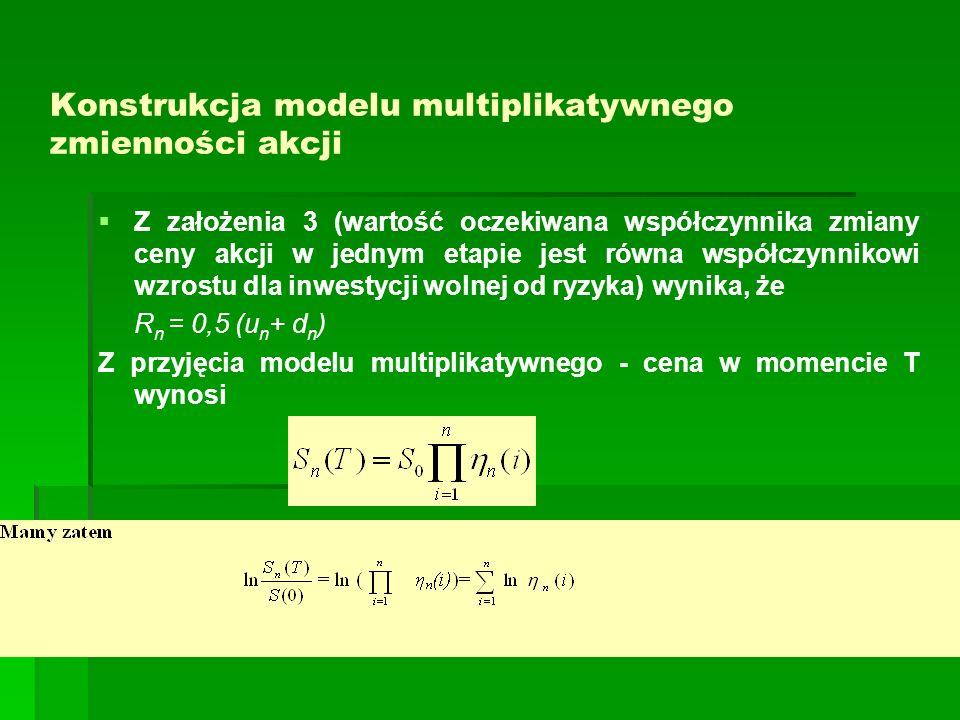Konstrukcja modelu multiplikatywnego zmienności akcji Z założenia 3 (wartość oczekiwana współczynnika zmiany ceny akcji w jednym etapie jest równa wsp