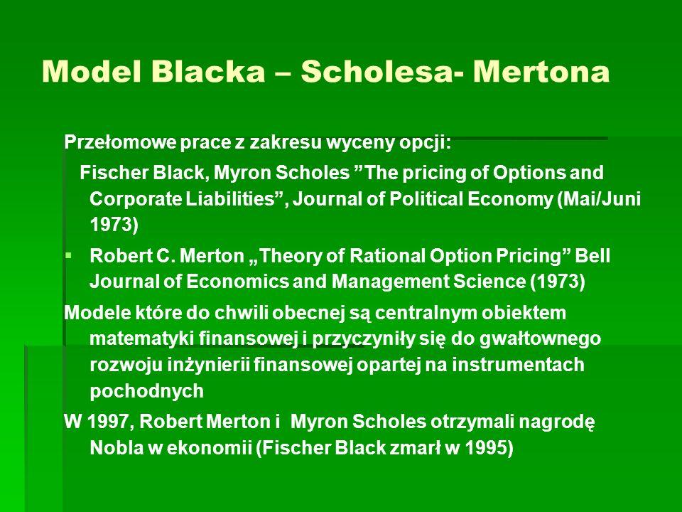 Model Blacka – Scholesa- Mertona Przełomowe prace z zakresu wyceny opcji: Fischer Black, Myron Scholes The pricing of Options and Corporate Liabilitie