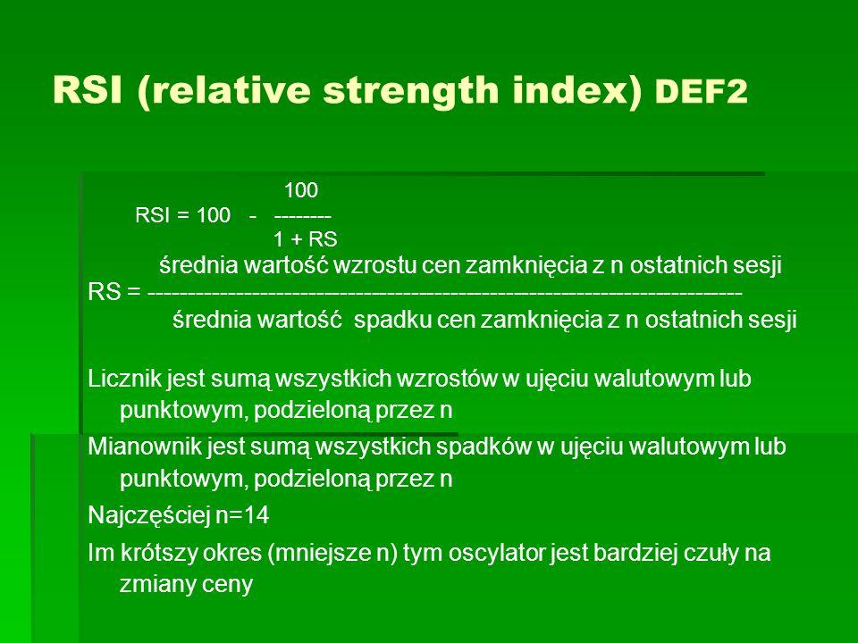 RSI (relative strength index) DEF2 100 RSI = 100 - -------- 1 + RS średnia wartość wzrostu cen zamknięcia z n ostatnich sesji RS = --------------------------------------------------------------------------- średnia wartość spadku cen zamknięcia z n ostatnich sesji Licznik jest sumą wszystkich wzrostów w ujęciu walutowym lub punktowym, podzieloną przez n Mianownik jest sumą wszystkich spadków w ujęciu walutowym lub punktowym, podzieloną przez n Najczęściej n=14 Im krótszy okres (mniejsze n) tym oscylator jest bardziej czuły na zmiany ceny