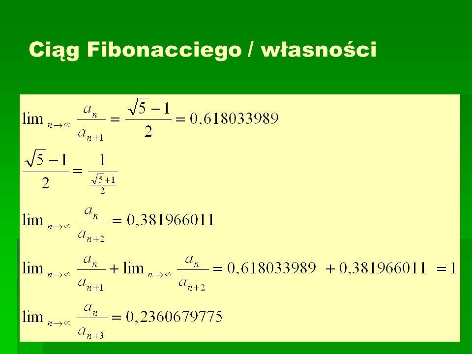 Ciąg Fibonacciego / własności