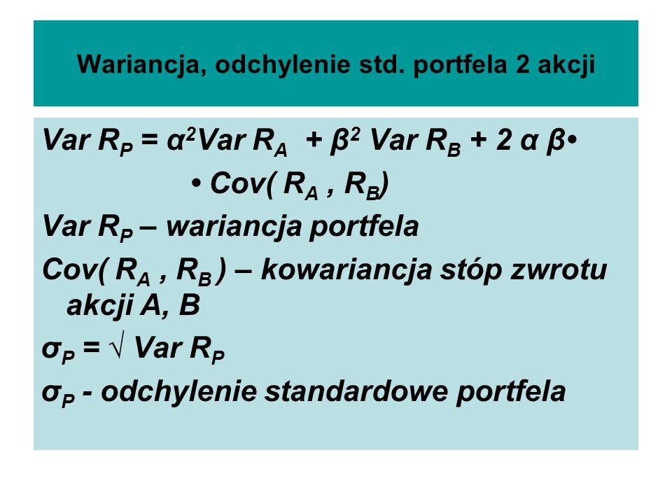 Wariancja, odchylenie std. portfela 2 akcji Var R P = α 2 Var R A + β 2 Var R B + 2 α β Cov( R A, R B ) Var R P – wariancja portfela Cov( R A, R B ) –
