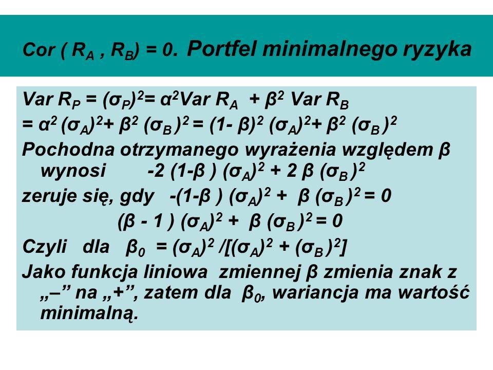 Cor ( R A, R B ) = 0. Portfel minimalnego ryzyka Var R P = (σ P ) 2 = α 2 Var R A + β 2 Var R B = α 2 (σ A ) 2 + β 2 (σ B ) 2 = (1- β) 2 (σ A ) 2 + β
