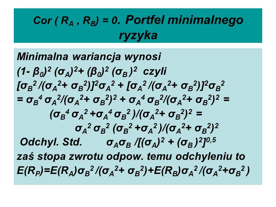 Cor ( R A, R B ) = 0. Portfel minimalnego ryzyka Minimalna wariancja wynosi (1- β 0 ) 2 (σ A ) 2 + (β 0 ) 2 (σ B ) 2 czyli [σ B 2 /(σ A 2 + σ B 2 )] 2