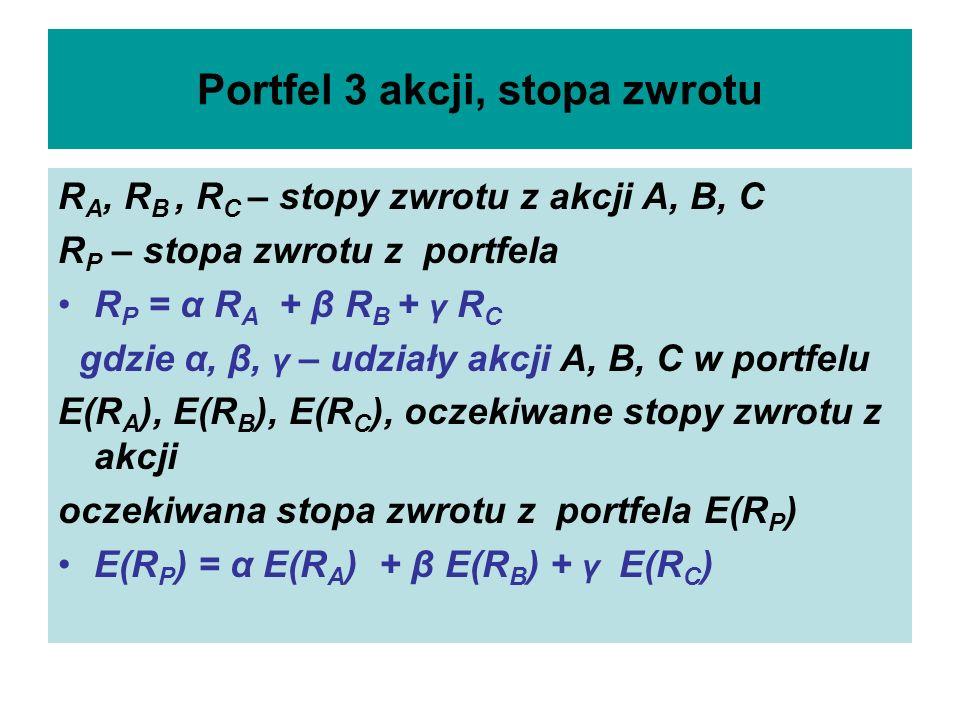 Portfel 3 akcji, stopa zwrotu R A, R B, R C – stopy zwrotu z akcji A, B, C R P – stopa zwrotu z portfela R P = α R A + β R B + γ R C gdzie α, β, γ – u