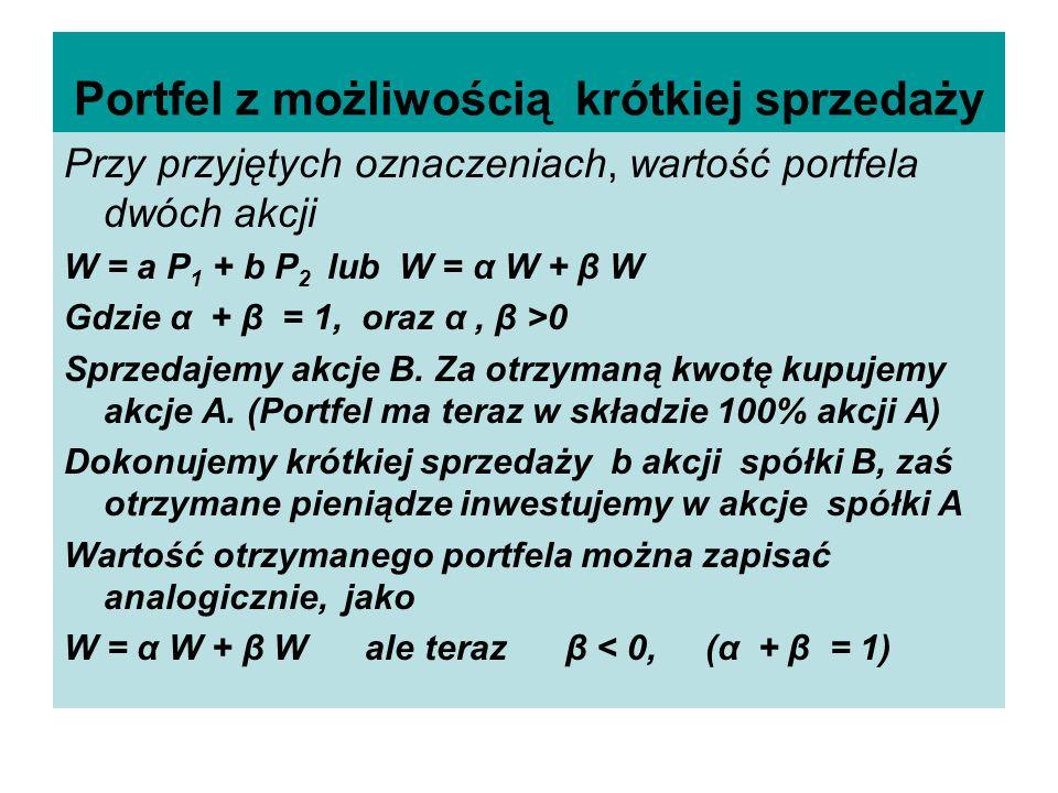 Portfel z możliwością krótkiej sprzedaży Przy przyjętych oznaczeniach, wartość portfela dwóch akcji W = a P 1 + b P 2 lub W = α W + β W Gdzie α + β =