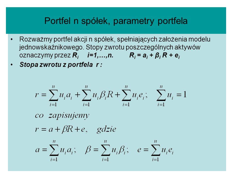 Portfel n spółek, parametry portfela Rozważmy portfel akcji n spółek, spełniających założenia modelu jednowskaźnikowego. Stopy zwrotu poszczególnych a