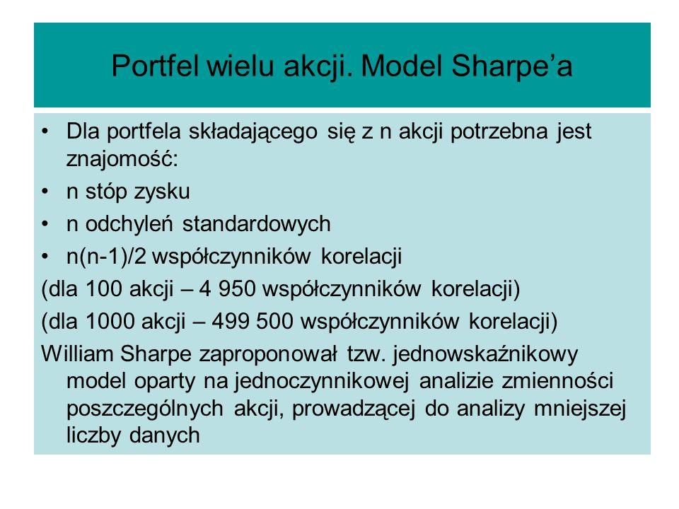 Portfel wielu akcji. Model Sharpea Dla portfela składającego się z n akcji potrzebna jest znajomość: n stóp zysku n odchyleń standardowych n(n-1)/2 ws