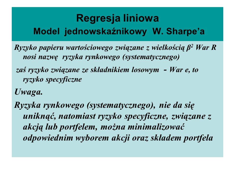 Regresja liniowa Model jednowskaźnikowy W. Sharpea Ryzyko papieru wartościowego związane z wielkością β 2 War R nosi nazwę ryzyka rynkowego (systematy
