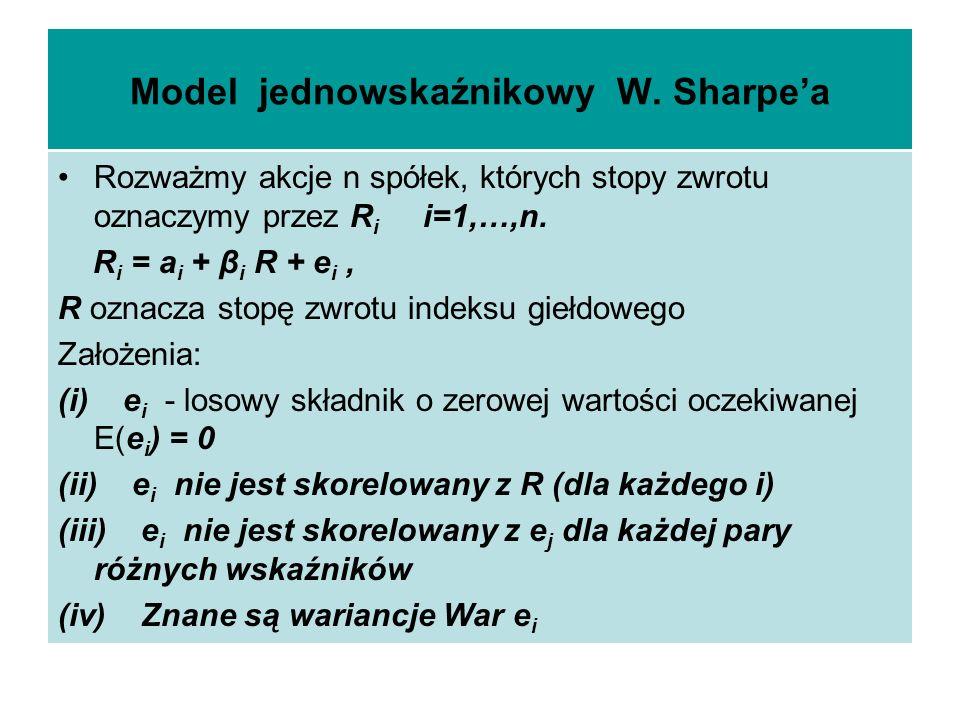 Model jednowskaźnikowy W. Sharpea Rozważmy akcje n spółek, których stopy zwrotu oznaczymy przez R i i=1,…,n. R i = a i + β i R + e i, R oznacza stopę