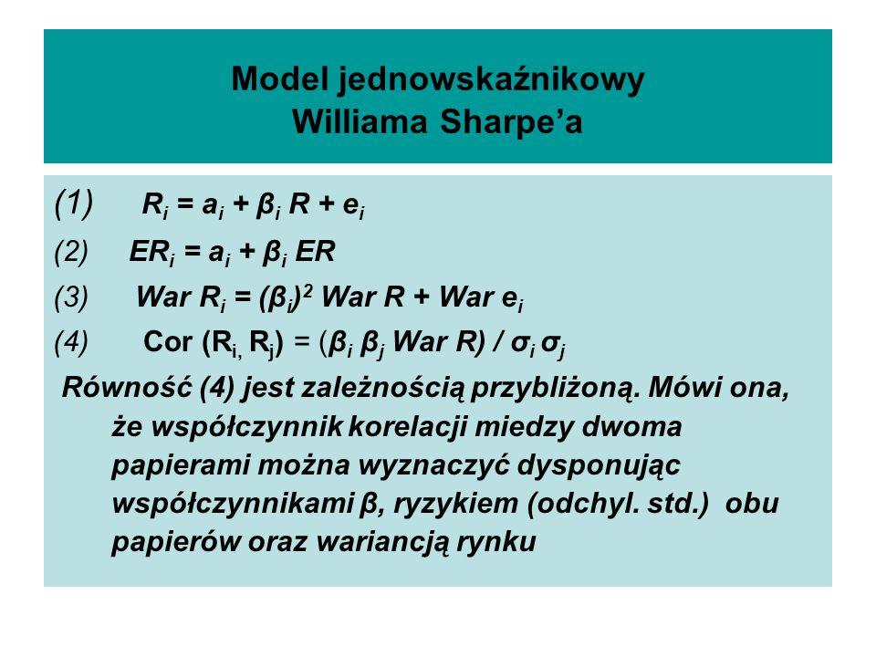 Model jednowskaźnikowy Williama Sharpea (1) R i = a i + β i R + e i (2) ER i = a i + β i ER (3) War R i = (β i ) 2 War R + War e i (4) Cor (R i, R j )