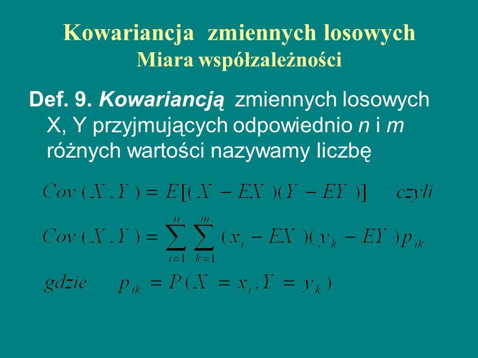 Kowariancja zmiennych losowych Miara współzależności Def. 9. Kowariancją zmiennych losowych X, Y przyjmujących odpowiednio n i m różnych wartości nazy
