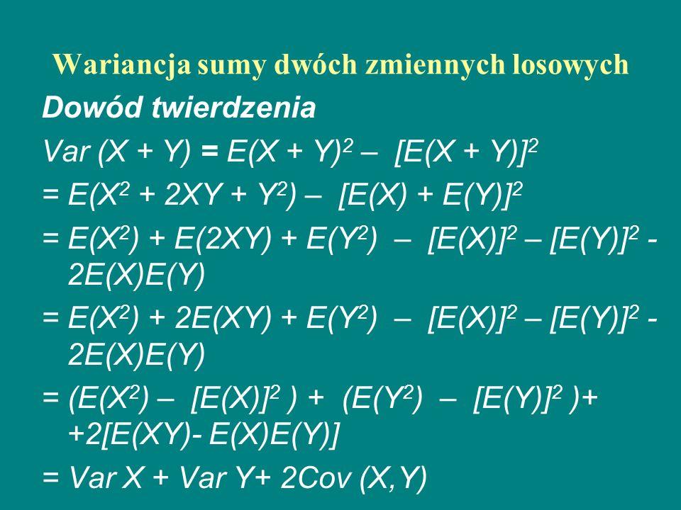 Wariancja sumy dwóch zmiennych losowych Dowód twierdzenia Var (X + Y) = E(X + Y) 2 – [E(X + Y)] 2 = E(X 2 + 2XY + Y 2 ) – [E(X) + E(Y)] 2 = E(X 2 ) +