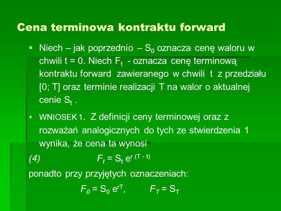 Cena terminowa kontraktu forward Niech – jak poprzednio – S 0 oznacza cenę waloru w chwili t = 0. Niech F t - oznacza cenę terminową kontraktu forward