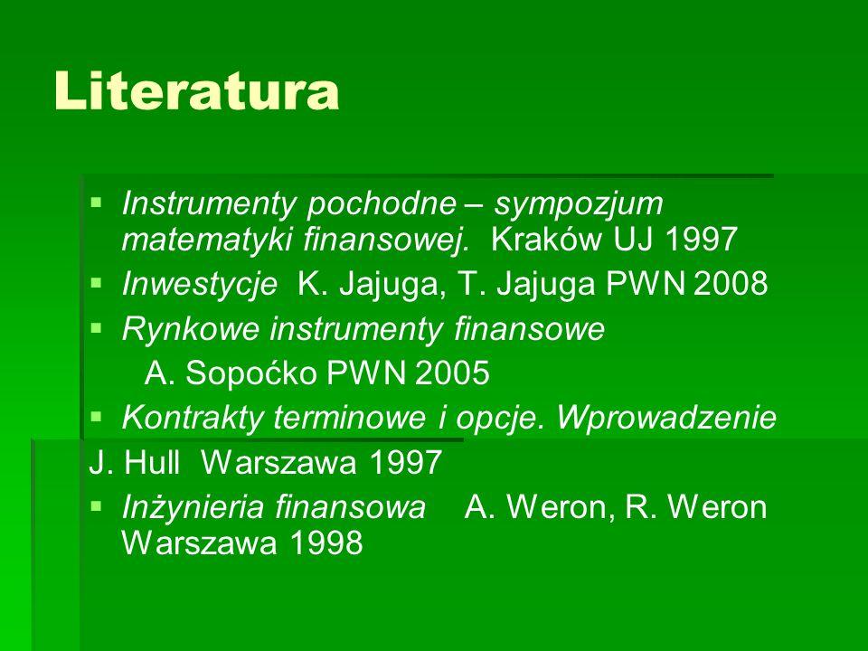 Literatura Instrumenty pochodne – sympozjum matematyki finansowej. Kraków UJ 1997 Inwestycje K. Jajuga, T. Jajuga PWN 2008 Rynkowe instrumenty finanso