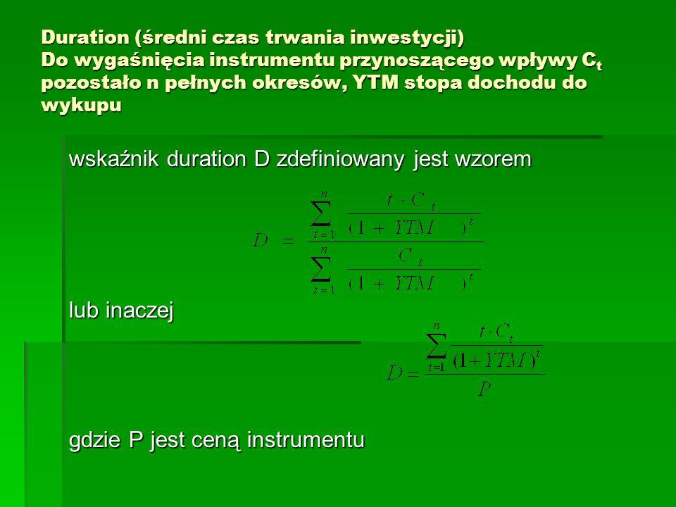 Duration (średni czas trwania inwestycji) Do wygaśnięcia instrumentu przynoszącego wpływy C t pozostało n pełnych okresów, YTM stopa dochodu do wykupu