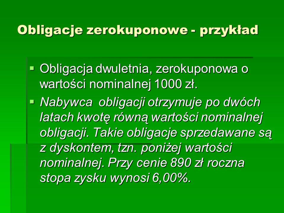 Obligacje zerokuponowe - przykład Obligacja dwuletnia, zerokuponowa o wartości nominalnej 1000 zł. Obligacja dwuletnia, zerokuponowa o wartości nomina