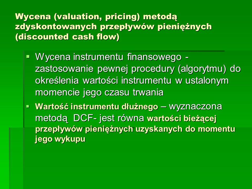 Wycena (valuation, pricing) metodą zdyskontowanych przepływów pieniężnych (discounted cash flow) Wycena instrumentu finansowego - zastosowanie pewnej