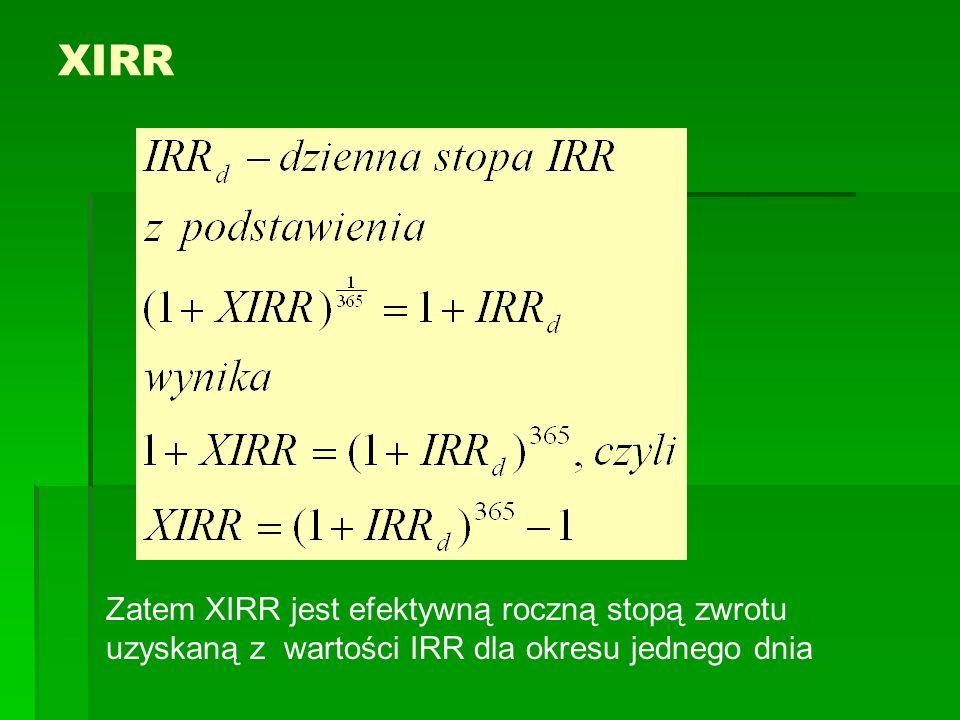 XIRR Zatem XIRR jest efektywną roczną stopą zwrotu uzyskaną z wartości IRR dla okresu jednego dnia