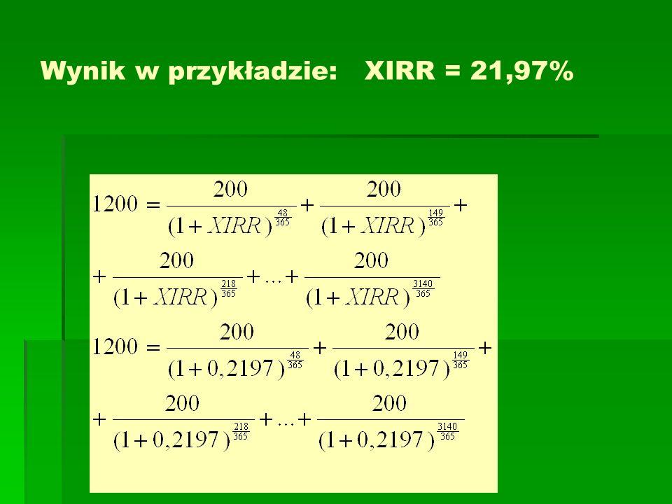 Wynik w przykładzie: XIRR = 21,97%