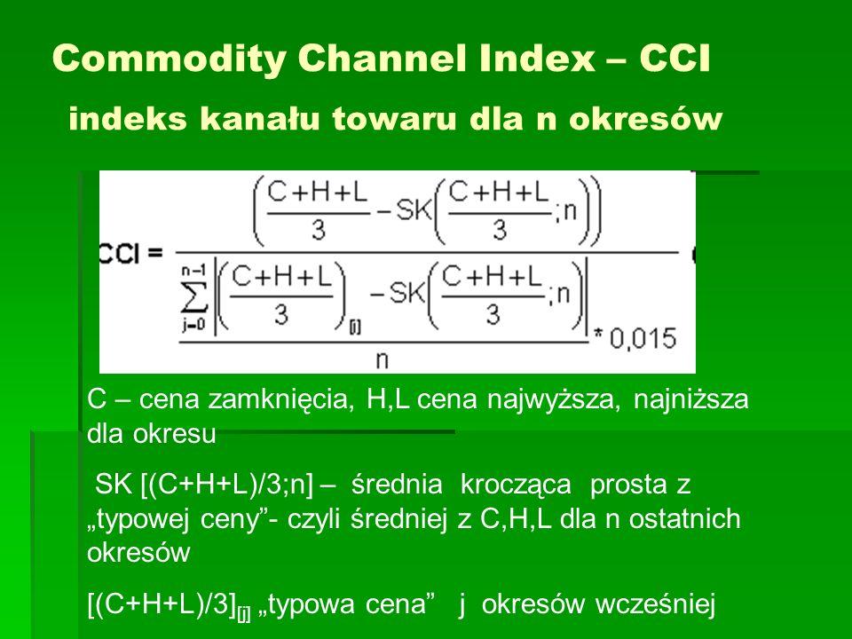 Commodity Channel Index – CCI indeks kanału towaru dla n okresów C – cena zamknięcia, H,L cena najwyższa, najniższa dla okresu SK [(C+H+L)/3;n] – śred