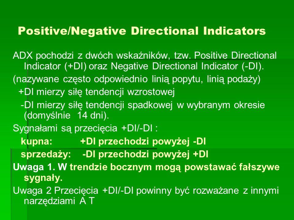 Positive/Negative Directional Indicators ADX pochodzi z dwóch wskaźników, tzw. Positive Directional Indicator (+DI) oraz Negative Directional Indicato