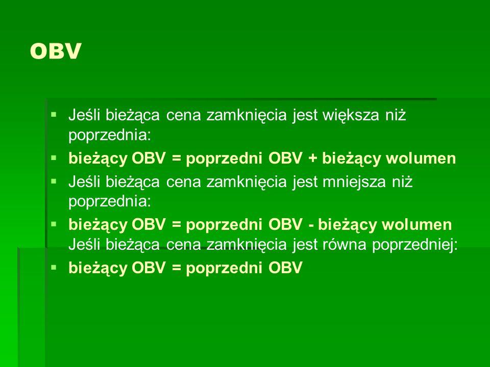 OBV Jeśli bieżąca cena zamknięcia jest większa niż poprzednia: bieżący OBV = poprzedni OBV + bieżący wolumen Jeśli bieżąca cena zamknięcia jest mniejs