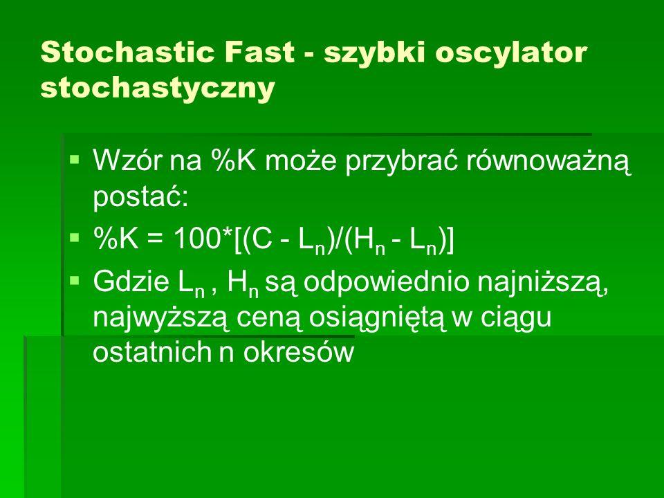Stochastic Fast - szybki oscylator stochastyczny Wzór na %K może przybrać równoważną postać: %K = 100*[(C - L n )/(H n - L n )] Gdzie L n, H n są odpo