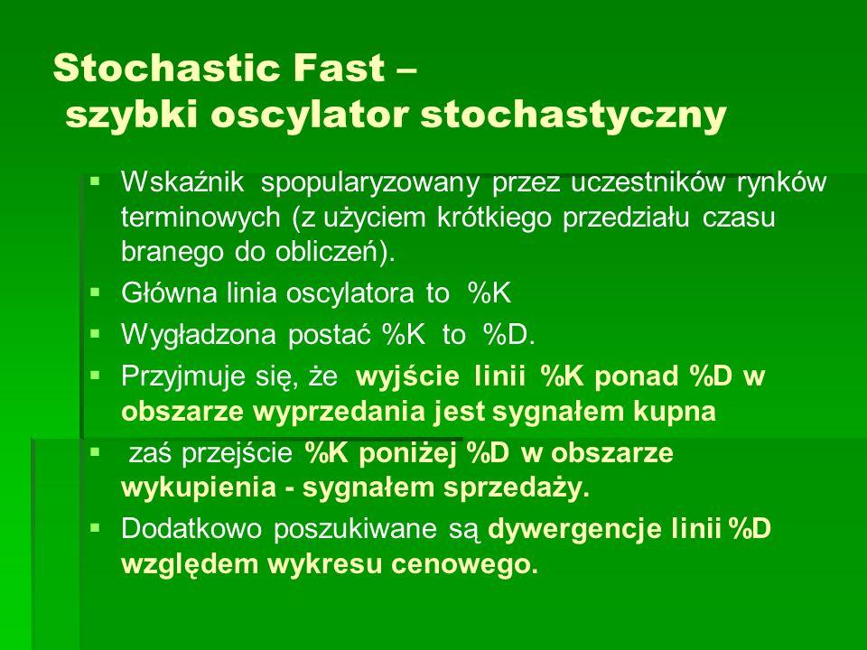 Stochastic Fast – szybki oscylator stochastyczny Wskaźnik spopularyzowany przez uczestników rynków terminowych (z użyciem krótkiego przedziału czasu b