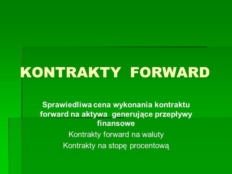KONTRAKTY FORWARD Sprawiedliwa cena wykonania kontraktu forward na aktywa generujące przepływy finansowe Kontrakty forward na waluty Kontrakty na stop