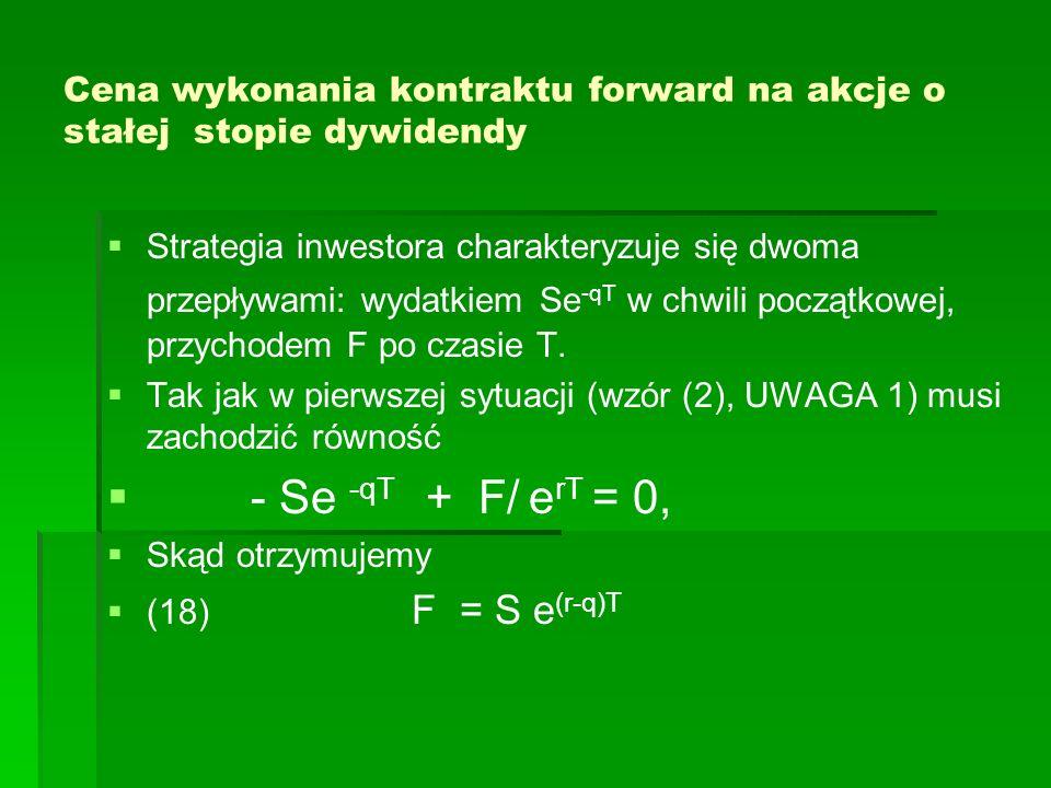 Cena wykonania kontraktu forward na akcje o stałej stopie dywidendy Strategia inwestora charakteryzuje się dwoma przepływami: wydatkiem Se -qT w chwil
