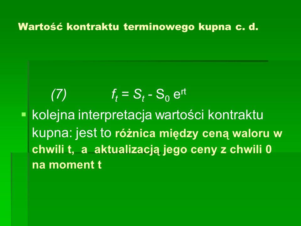 Wartość kontraktu terminowego kupna przy danej cenie dostawy K Zastępując we wzorach (5) i (6) literę F 0 - ceną dostawy kontraktu zawartego w chwili t=0, literą K, otrzymujemy wersje (5) i (6) wzorów na wartość pozycji długiej w kontrakcie w chwili t (z przedziału [0; T] ) (5) f t = S t - e -r(T-t) K (6) f t = e -r(T- t) (F t - K ) lub po uproszczenaich: (8) f = S - e -rT K (9) (9) f = e -rT (F- K ) S- aktualna cena waloru, T- czas do terminu realizacji, F – cena terminowa kontraktu