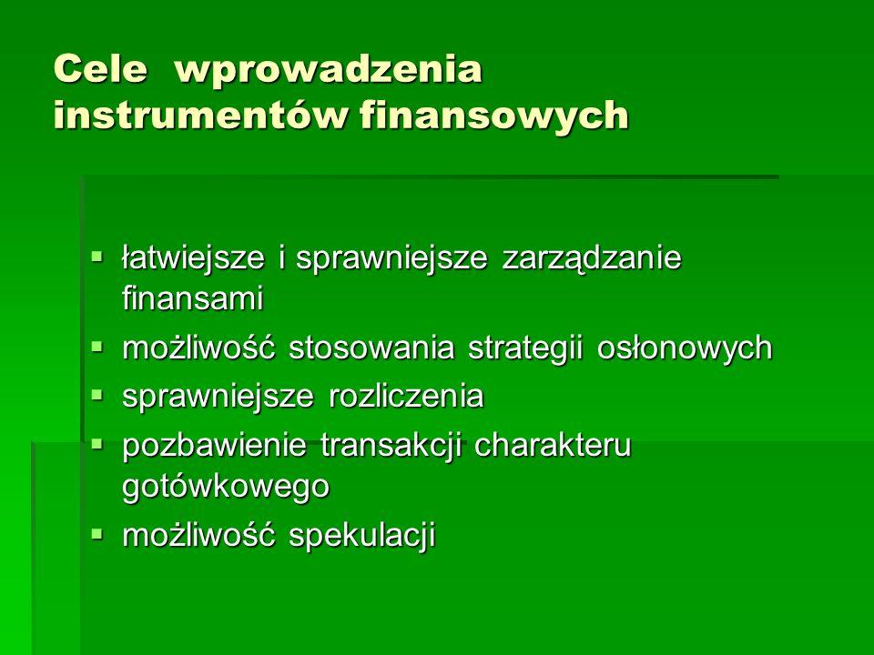 Cele wprowadzenia instrumentów finansowych łatwiejsze i sprawniejsze zarządzanie finansami łatwiejsze i sprawniejsze zarządzanie finansami możliwość s