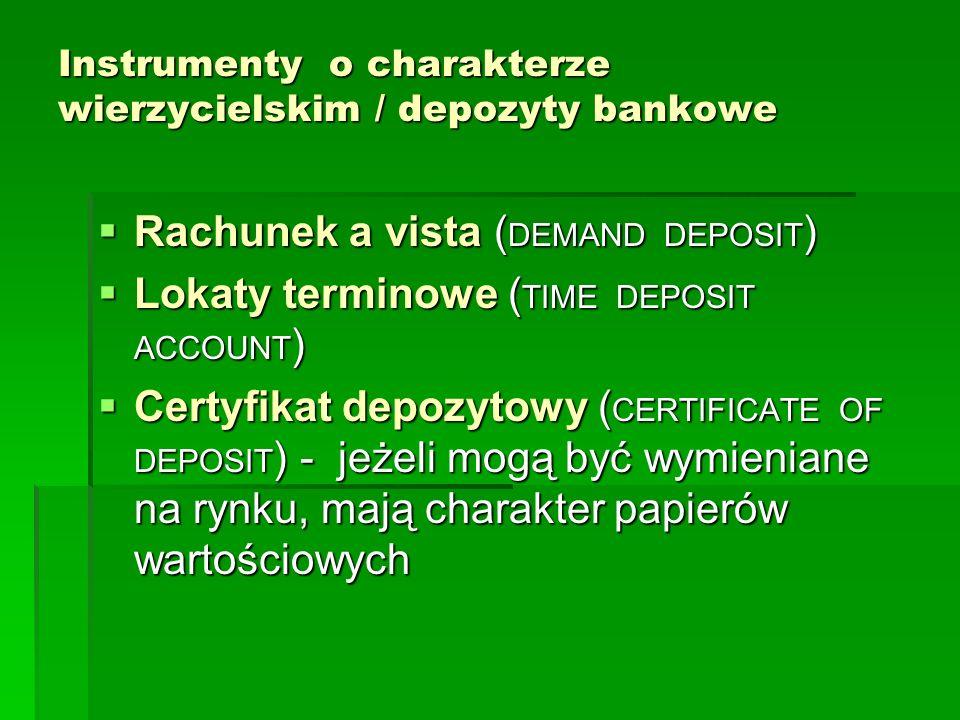 Instrumenty o charakterze wierzycielskim / depozyty bankowe Rachunek a vista ( DEMAND DEPOSIT ) Rachunek a vista ( DEMAND DEPOSIT ) Lokaty terminowe (