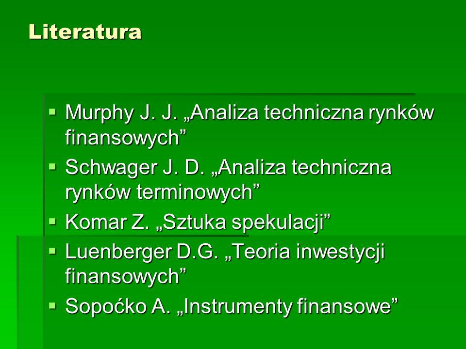 Literatura Murphy J. J. Analiza techniczna rynków finansowych Murphy J. J. Analiza techniczna rynków finansowych Schwager J. D. Analiza techniczna ryn
