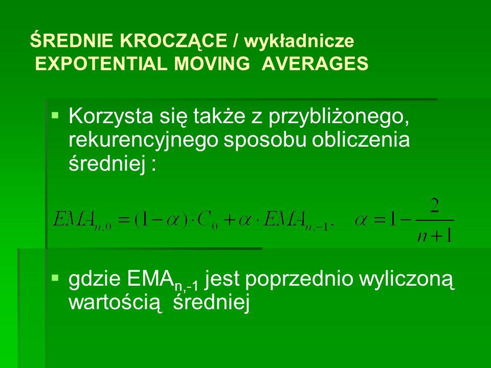 ŚREDNIE KROCZĄCE / wykładnicze EXPOTENTIAL MOVING AVERAGES Korzysta się także z przybliżonego, rekurencyjnego sposobu obliczenia średniej : gdzie EMA