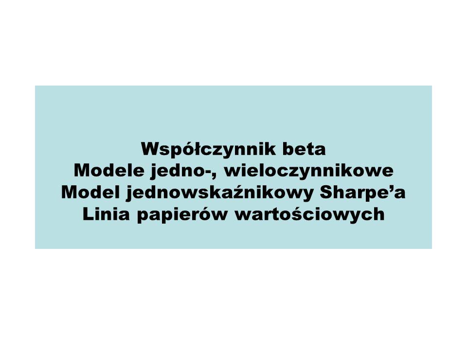 Współczynnik beta Modele jedno-, wieloczynnikowe Model jednowskaźnikowy Sharpea Linia papierów wartościowych