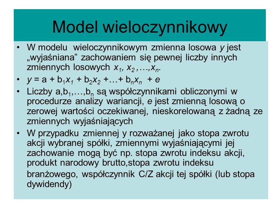 Model wieloczynnikowy W modelu wieloczynnikowym zmienna losowa y jest wyjaśniana zachowaniem się pewnej liczby innych zmiennych losowych x 1, x 2,…,x n.